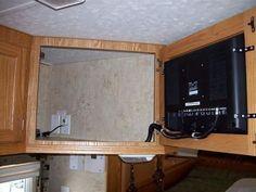 RV TV Mount Installation Ideas and Resource - Camper Life Rv Cabinets, Storage Cabinets, Rv Storage, Storage Ideas, Camping Storage, Rv Makeover, Cabinet Makeover, Caravan Makeover, Rv Tv Mount