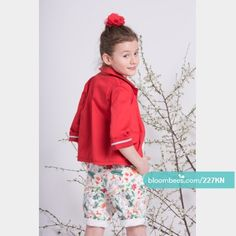 Red jacket Length: to the hip Fashion: a simple jacket with 3/4 sleeves with trimming at the edges.  Pockets finished with colored trimming. Fastened with decorative buttons. Fabric: 97% cotton, 3% elastane Made in Poland  Buy this product instantly on Bloombees: https://bloombees.com/227KN