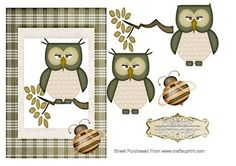 A lovely topper of a Wise Old Owl sat on a tree branch,set inside a green plaid…