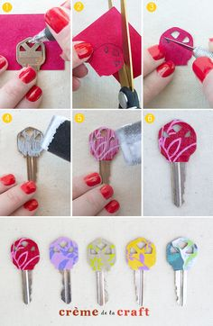 DIY - color coded keys with scrapbook paper