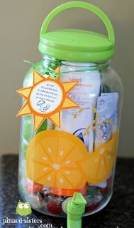 "Pinned Sisters: End of year Teacher gift - ""You worked hard all year to make learning fun. Now it's your time to relax in the sun."" Fill tea jar with summer things like sunscreen and beach towel."