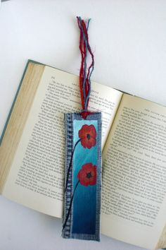 Bookmark, Red Poppies on Aqua Ombre, Hand-Painted on Up-Cycled Denim with Tassel
