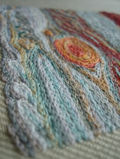 """pardalote: """" Jupiter embroidery - done! My own design, loosely based on a series of photos by NASA showing the Great Red Spot devouring nearby little spots :-) Chain stitch in cotton, silk and specialty threads. Edit: because I've had so many..."""