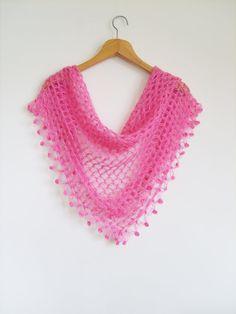 Crochet Scarf / Pink Shawl / Turkish Pashmina / by Fashionscarf, $34.90