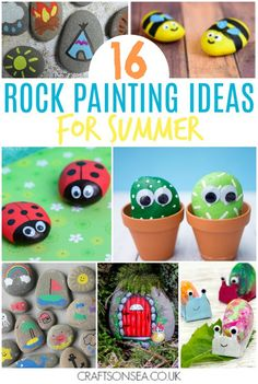Get crafting and then get exploring with these rock painting ideas for kids perfect for the summer. Painted rocks and easy tutorials perfect for kids that love rock hunting (and hiding!) plus some fun rock crafts to try. #kidscraft #craftsforkids #rockpainting #rocks #rockart