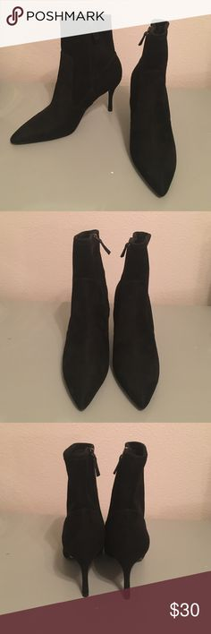 """Black suede ankle boots Brand new, never worn. From Nine West, size 10. From smoke and pet free home! About a 3"""" heel, black sueded, very comfortable! Nine West Shoes Heeled Boots"""