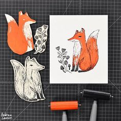 Two color fox blockprint. Feeling more and more like fall is arriving