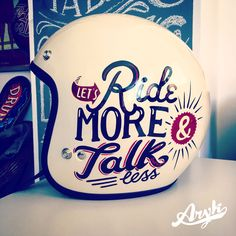 Arai Helmet with Hand Lettering by Aryk Old Paint