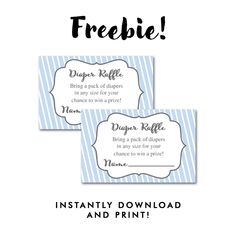 Free Baby Shower   Baby Boy Blue White Stripes   Insert Diaper Raffle Ticket    Instant