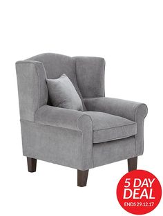 Ideal Home Denton Grace Chenille Fabric Wing Chair - Grey -