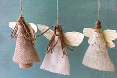 Earth Angel Ornaments: Create a constellation of adorable, windblown earth angels to add a natural touch to your handmade home. Hung from a tree or garland or festooned on a handmade twig wreath, these sweet little angels will bring joyful sweet tidings to the holidays. (Very lovely and they look easy to make!!)