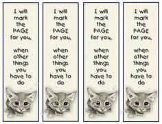 Printable Bookmark Cute Big Eyed Kitten Little Verse by joyart, $3.00