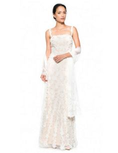 Tadashi Shoji Floral Embellished Tulle Gown with Stole