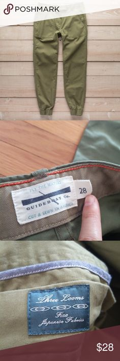 """Olive Guideboat Joggers/Camp Pants Olive Guideboat joggers. Size 28, but fits like 26. I'm normally a size 4/27, but these puckered for me across the hips. Worn a handful times of at home only. Waist measures 14.5"""" across (fabric has no stretch). Hips 18""""; 28"""" inseam.  Utility and high style needn't be mutually exclusive. Witness our camp pants in ultra-comfortable Japanese reverse sateen, garment-washed with a drawcord waist, elastic hems, and utility pockets front and back. The height of…"""