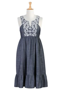 Denim Chambray Cotton Dresses, Embellished Boho Dresses Shop women's designer fashion - A-line dress - Shop for A-line dresses CL0032095 | eShakti