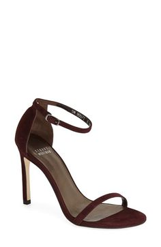 Stuart Weitzman 'Nudistsong' Ankle Strap Sandal in Currant Suede | Nordstrom