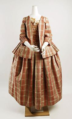 Gown and Caraco (Jacket), 1770–90, probably French, silk ( Labelled a Robe à la Française— Could be the same gown as the one also pinned to this board, but with a Caraco over jacket http://www.pinterest.com/pin/278589926924378250/ | The Met