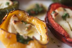 roast peppers stuffed with halloumi cheese, pine nuts, garlic, drizzled in parsley vinegratte