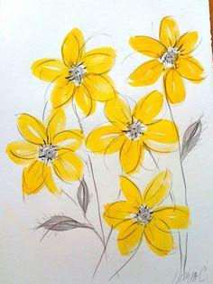 gelbe blumen malen wandgemälde