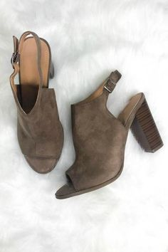 - Cute faux suede block heels - Heel height is 4 inches - Has a chunky wooden heel - Has a side ankle buckle strap Pretty Shoes, Cute Shoes, Me Too Shoes, Sock Shoes, Shoe Boots, Shoe Bag, Fall Shoes, New Shoes, Open Toe Booties