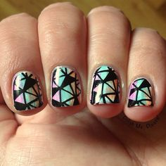 Stamping nail art over distressed colorful stripes