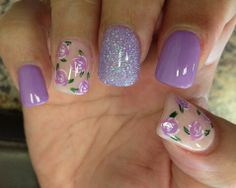 Purple Nails with roses .
