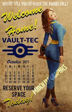 Vault-Tec Pin Up Art Calendar Print Fallout 3 4 New Vegas Fallout Posters, Fallout Props, Fallout Fan Art, Fallout Concept Art, Fallout Meme, Fallout 4 Secrets, Fallout Cosplay, Vault Tec, Art Calendar