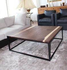 coffee table black walnut black metal base elegant design handcrafted in canada live edge furniture
