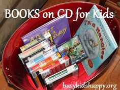 Books on CD - includes list of books for preschool and elementary listeners