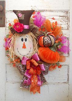 Velvet Pumpkins, Fabric Pumpkins, Autumn Wreaths, Wreath Fall, Scarecrow Wreath, Monogram Decal, Craft Patterns, Fabric Covered, Whimsical