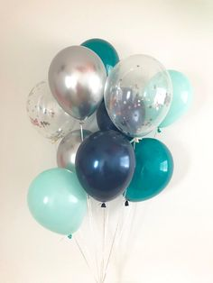 Navy Chrome Silver Mint Teal Silver Confetti Latex Balloons Teal and Mint Party Bridal Shower Teal Baby Shower Mint to Be Teal Baby Shower
