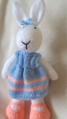 Hand knitted bunny by DreamDollies on Etsy