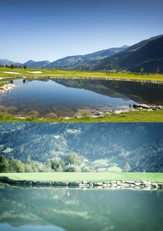 Direct access to the golf course! The rooms of the Sportresidenz Zillertal with a view of the Zillertal mountains and the Hochzillertal ski region Skiing, Golf Courses, Scenery, River, Boutique, Mountains, Nature, Sports, Outdoor