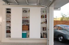Slimline built in cupboards with sliding doors for ease of access.  Shoe racks and storage.  Wall hung allowing easy cleaning of floors.  All custom made to suit any garage measurements. Free quotes - Brisbane, Sunshine Coast, Gold Coast.