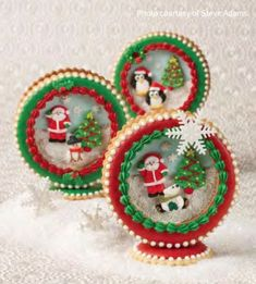 "I just love Julia Usher's cookies! Aren't these snowglobe cookies so precious? Can't wait to buy her new book, ""Ultimate Cookies"". Christmas Snow Globes, Christmas Sweets, Noel Christmas, Christmas Baking, Holiday Baking, Fancy Cookies, Cute Cookies, Cupcake Cookies, Cupcakes"