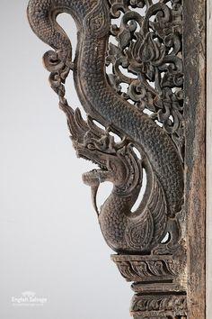 Pair of ornately carved century hardwood brackets with highly detailed dragons and floral and foliate scrollwork. Dragon Line Drawing, Coffee Labels, Sketch Inspiration, Balinese, Figure Drawing, 18th Century, Woodwork, Hand Carved, Gingerbread