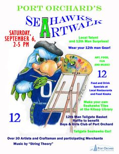 September get your 12 on. Port Orchard, Food Kiosk, Man Gear, Raffle Baskets, Art Walk, Things To Do, September, Seahawks, Fun