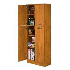 Kitchen Pantry Storage Cabinet 4 Doors Adjustable Shelves Wood Cupboard Pine NEW