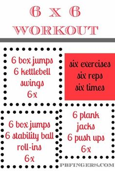6x6 Workout! Pretty similar to one of my circuits