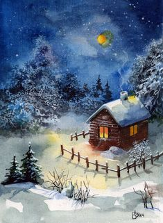 Russischer Online-Tagebuchservice – Winter And New Year Winter Landscape, Landscape Art, Landscape Paintings, Winter Pictures, Christmas Pictures, Christmas Scenes, Christmas Art, Bob Ross Paintings, Winter Painting