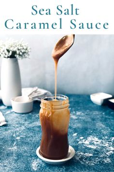 This sea salt caramel sauce is sweet with a touch of salty, but it also has a special ingredient that takes it to the next level! It is easy to make and can be made with or without a candy thermometer. Best salted caramel ever! Sea Salt Caramel, Salted Caramel Sauce, New Recipes, Sweet Recipes, Sour Cream, Ice Cream, Candy Thermometer, Corn Syrup, Touch