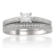 14k White Gold Vintage-Style Princess-cut Diamond Wedding Bridal Set Ring (5/8 cttw, H-I, SI2-I1)