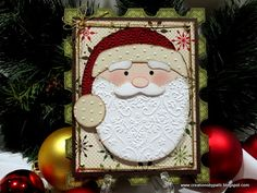 """Santa's Visit SVG cut file from SVGcuts.com. By using SCAL (Sure Cuts a Lot program), this card came together in a snap. This is another """"shaped"""" card with a vintage feel. It resembles a postage stamp. Finished card size is 4-7/8"""" x 6""""."""