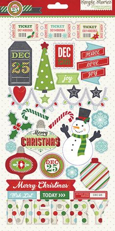 The Simple Stories December Documented Collection Chipboard Stickers will help you scrapbook your Christmas memories! Christmas Stickers, Christmas Paper, Christmas Images, Christmas Printables, Christmas Crafts, Christmas Stencils, Xmas, Simple Stories, Scrapbook Stickers