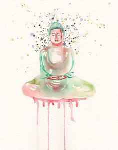 Watercolor Art Print Buddha in Color by piinkpaintbrush on Etsy