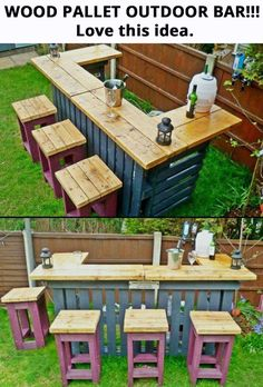 20 Creative Patio / Outdoor Bar Ideas You Must Try at Your Backyard Diy Pallet Projects Backyard bar creat Creative Ideas Outdoor Patio Diy Pallet Projects, Outdoor Projects, Home Projects, Backyard Projects, Bar Pallet, Pallet Patio, Pallet Couch, Pallet Furniture Outdoor Table, Pallet Bar Stools