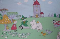 vintage fabric / scrab Moomin yellow, blue, green on Etsy, 132,89 kr