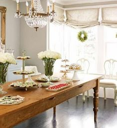Chairs pulled away from the Table....using it as a serving buffet