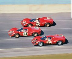1967 24 Hours of Daytona. The 'revenge'. The iconic image of the three Ferraris 330/P4 finishing first, second and third.