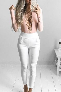 Pink Sexy V Crossed Front Design Bodysuits - US$17.95 -YOINS